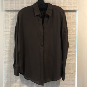 VINCE dark brown silk blouse. Like new! S or M fit